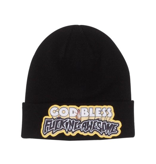 Fucking Awesome Fucking Awesome God Bless FA Beanie - Black