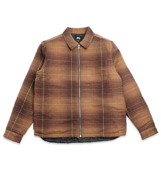 Stussy Stussy Zip Up Plaid LS Brown