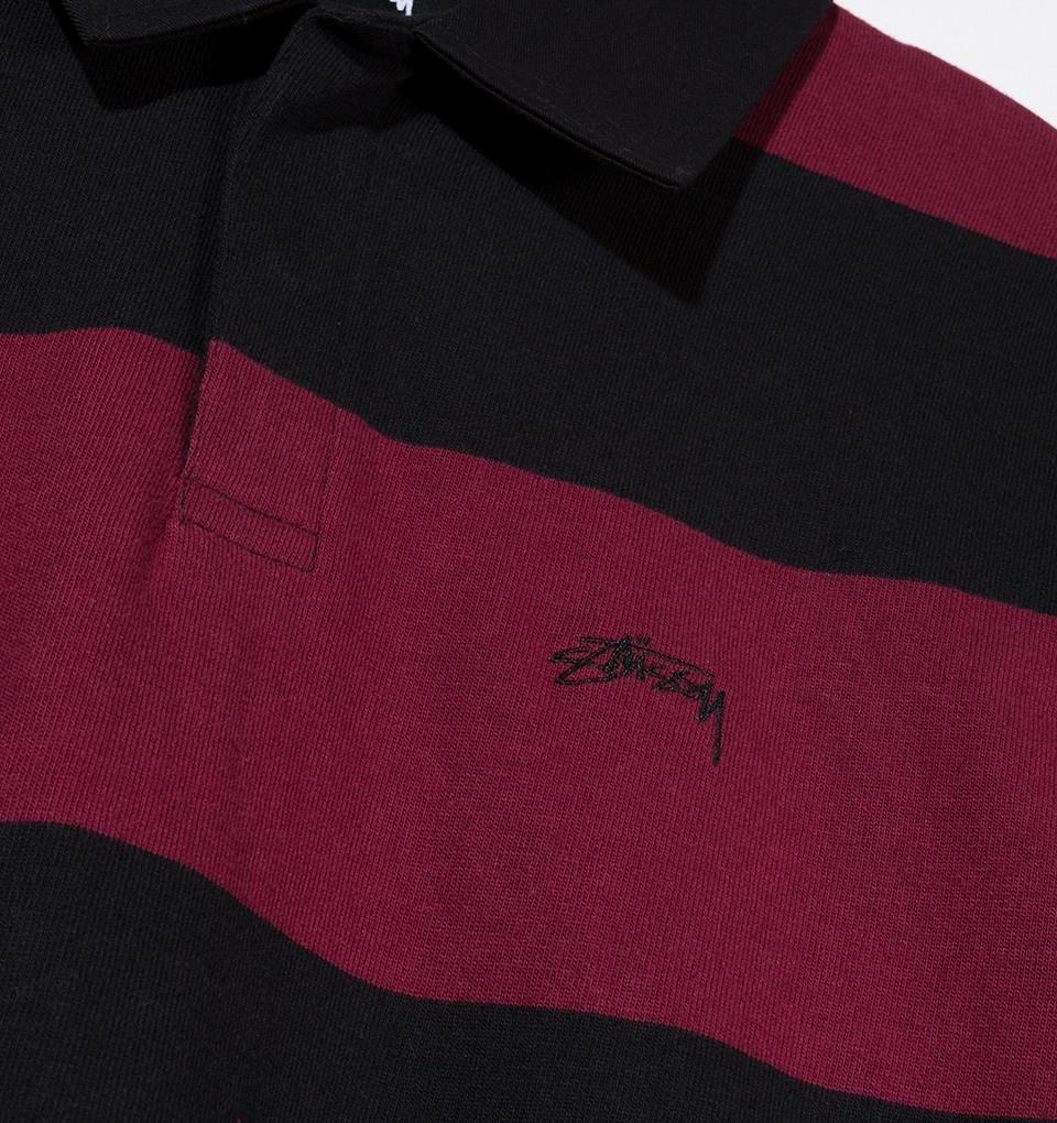 Stussy Stussy Ralphie Stripe Longsleeve Rugby - Black