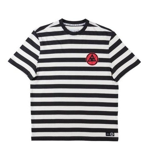 Welcome Welcome Sloth Striped Knit Tee - Black/Bone/Red