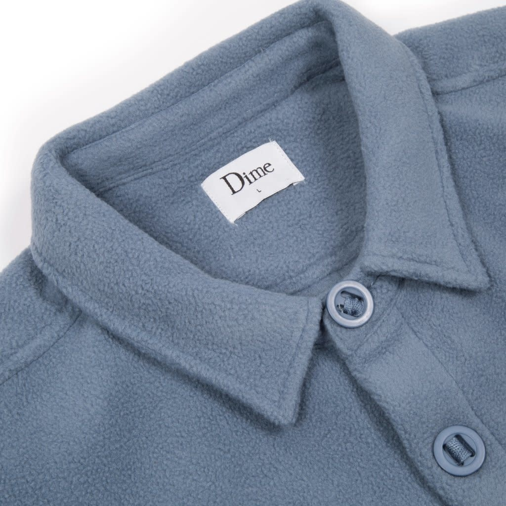 Dime Dime Polar Fleece Button Up Shirt - Light Blue
