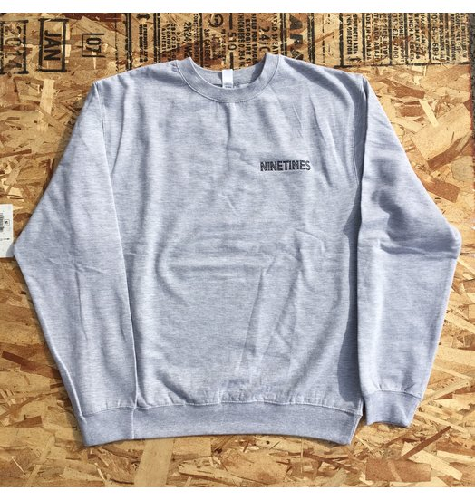 Ninetimes Ninetimes OG Logo Embroidered Crewneck - Grey/Black