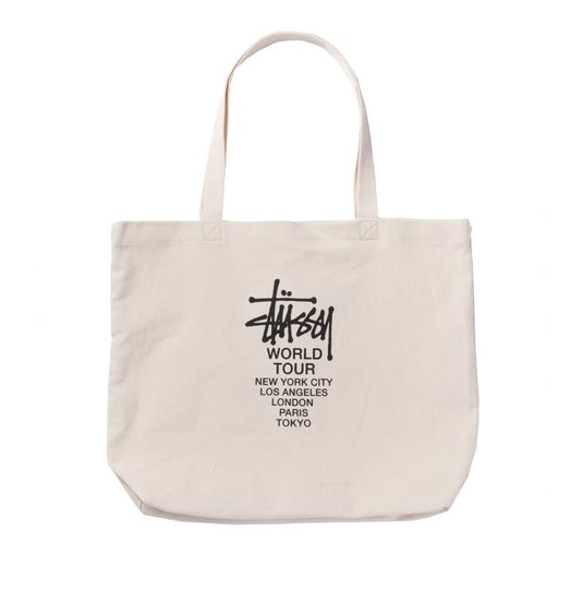 Stussy Stussy Canvas World Tour Tote Bag - Natural