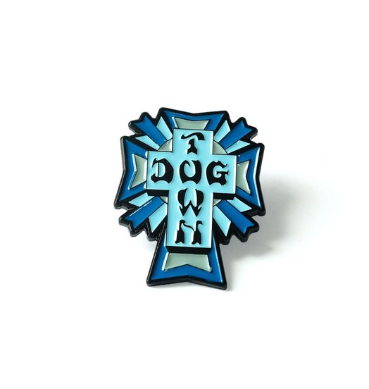 Dogtown Dogtown Color Logo Cross Enamel Pin - Blue