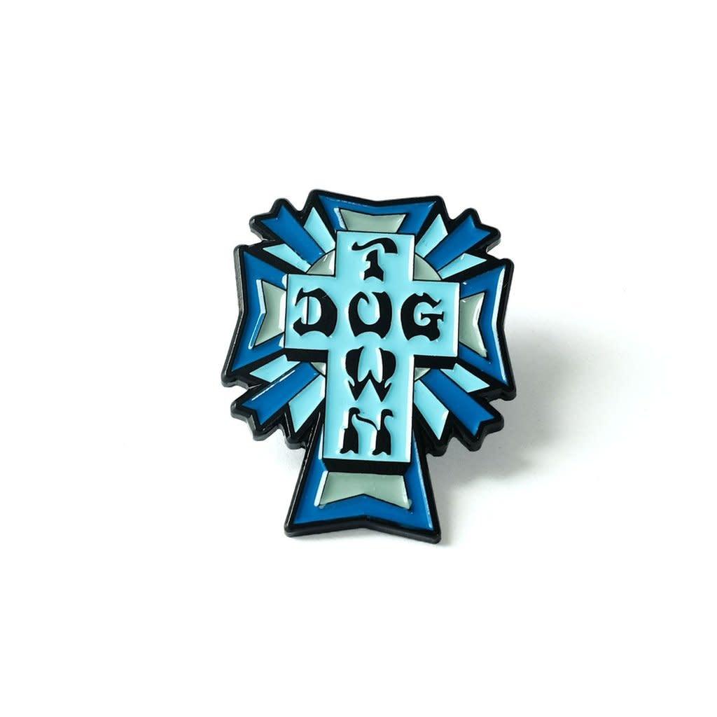 Dogtown Dogtown Color Logo Cross Enamel Pin - Blue