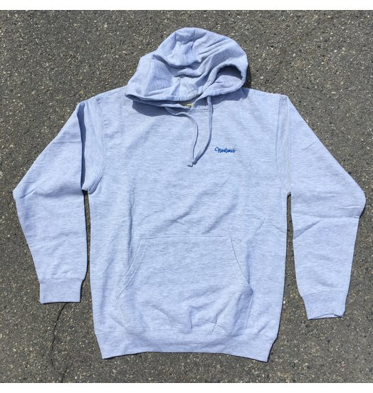 Ninetimes Ninetimes Script Logo Embroidered Hoodie - Grey/Royal