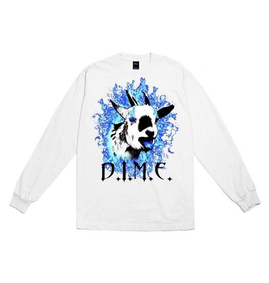 Dime Dime Fire Goat Longsleeve - White