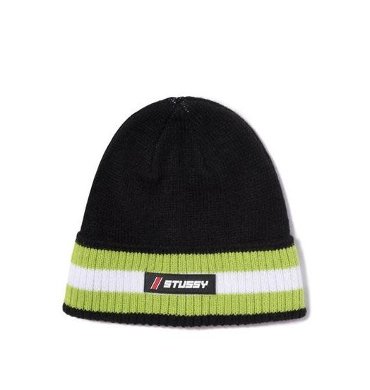 Stussy Stussy Striped Cuff Beanie - Black
