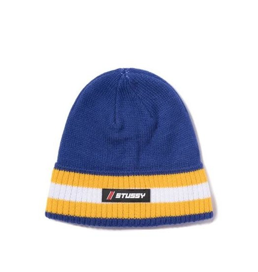 Stussy Stussy Striped Cuff Beanie - Blue