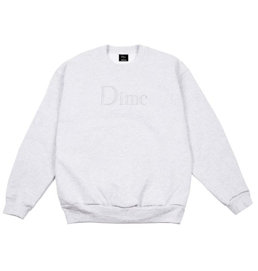 Dime Dime Classic Logo Embroidered Crewneck - Heather Grey