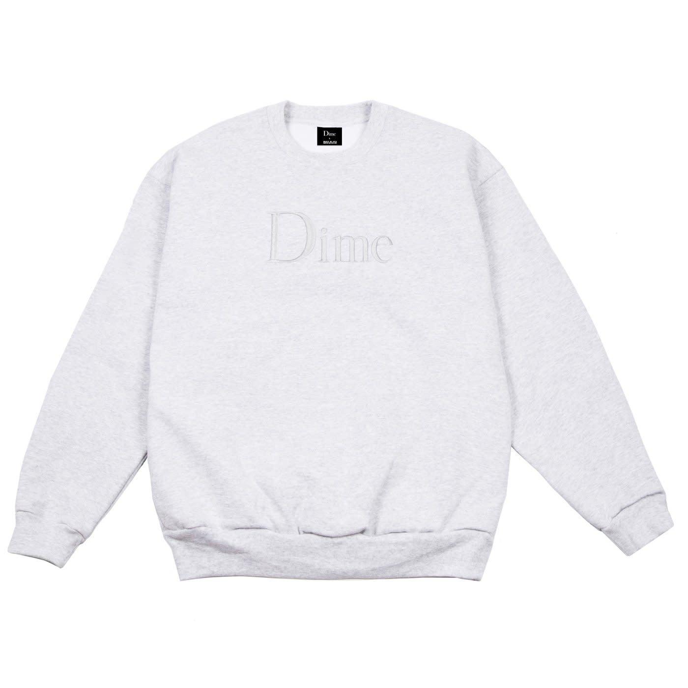 Dime Dime Classic Logo Embroidered Crewneck - Heather Grey