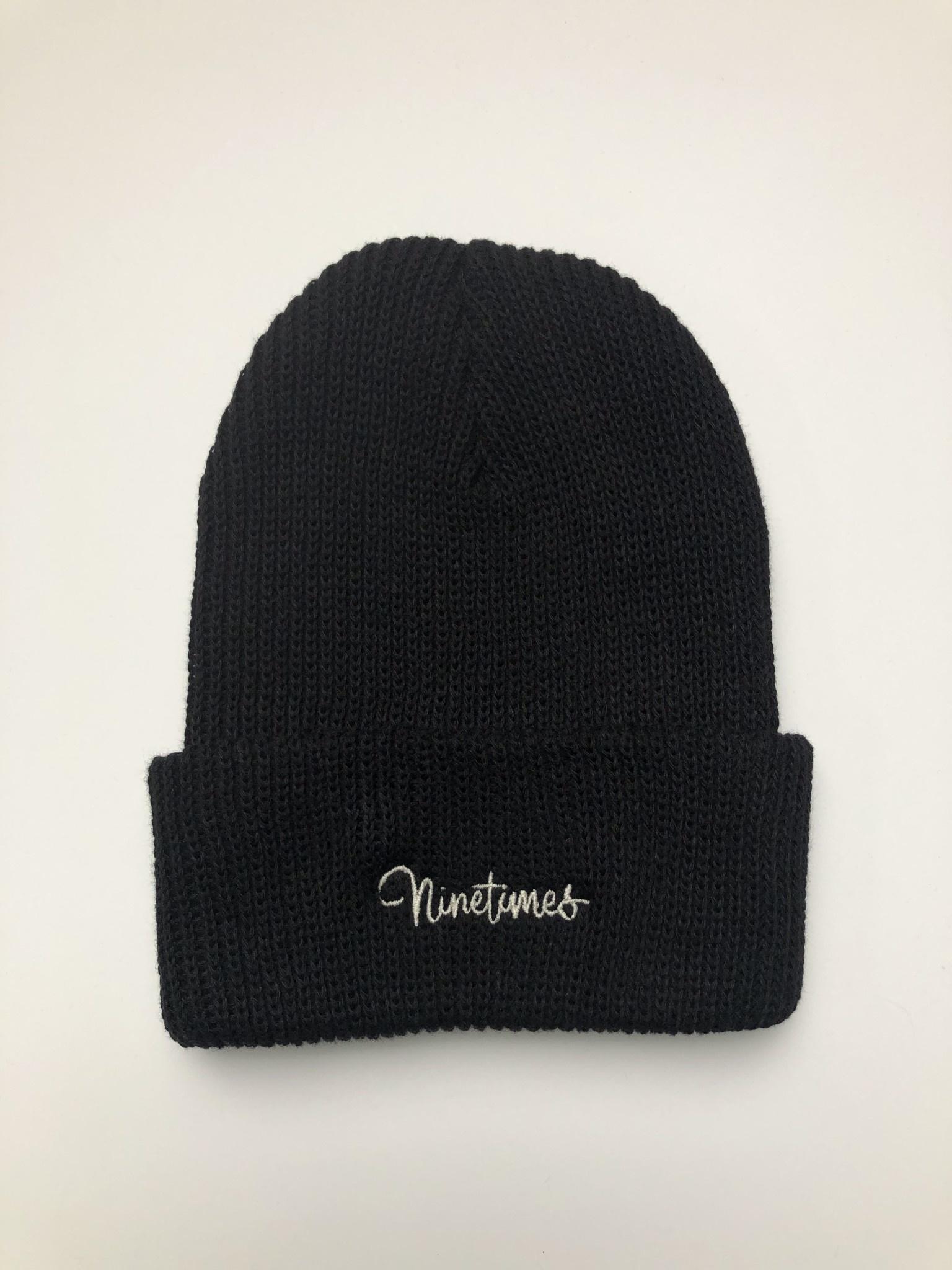 Ninetimes Ninetimes Script Embroidered Beanie - Black