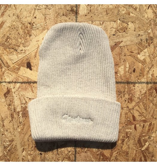 Ninetimes Ninetimes Script Embroidered Beanie - Natural