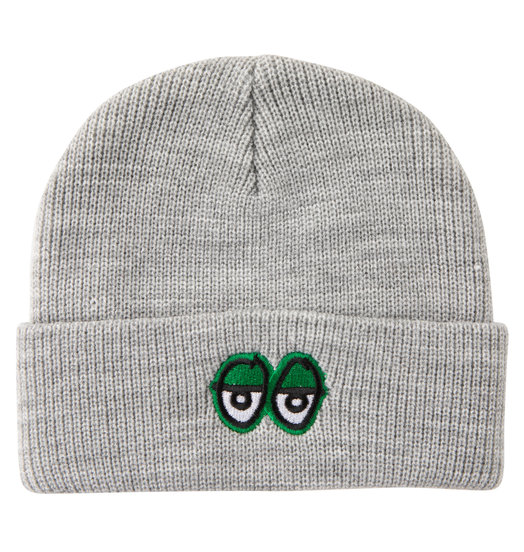 Krooked Krooked Embroidered Eyes Cuff Beanie - Heather Grey/Green