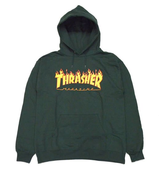 Thrasher Flame Logo Hoodie - Forest Green