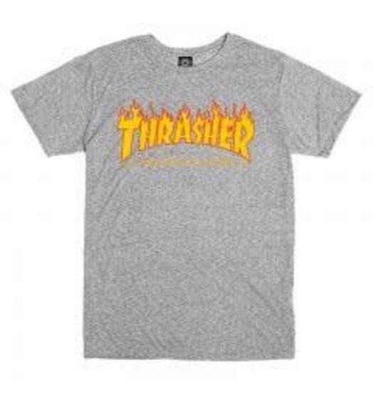 Thrasher Flame Logo Tee - Grey
