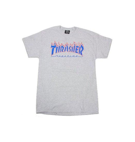 Thrasher Patriot Flame Logo Tee - Ash Grey