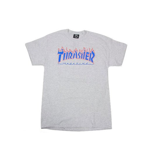 Thrasher Thrasher Patriot Flame Logo Tee - Ash Grey