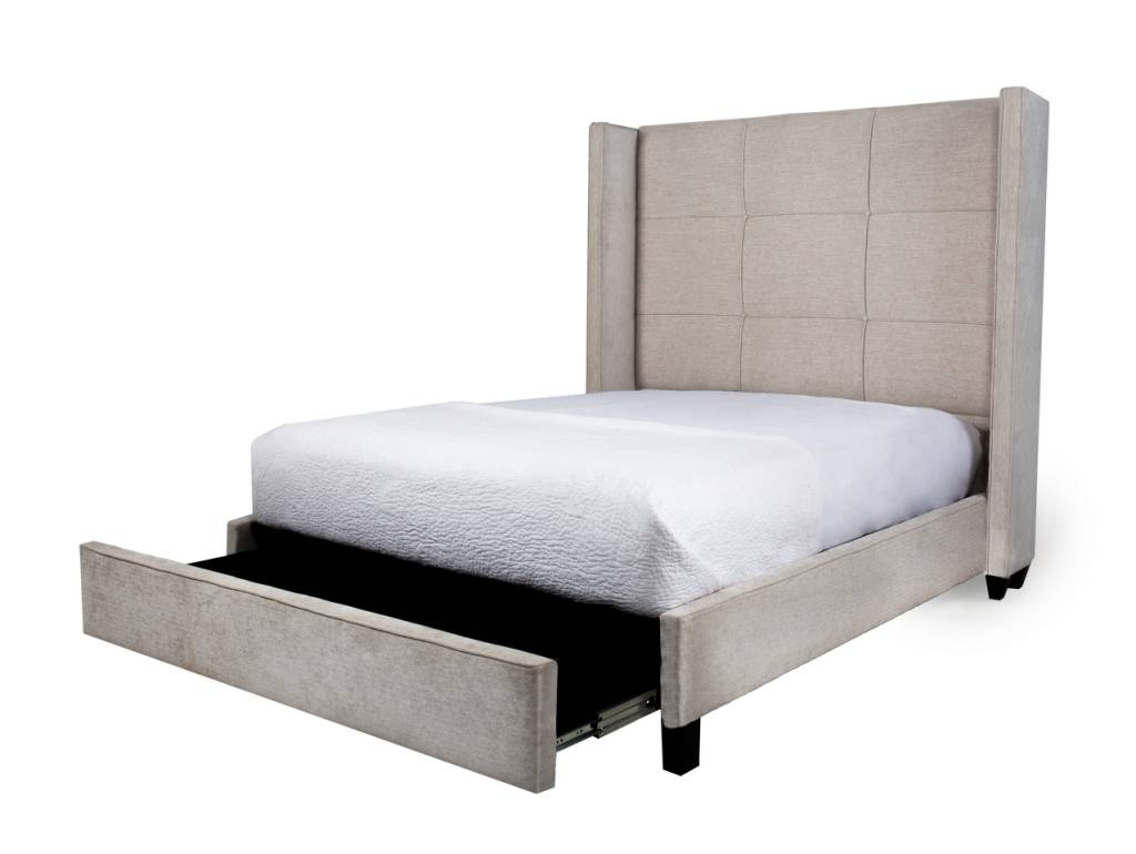 COLT KING STORAGE BED - WHITESAND