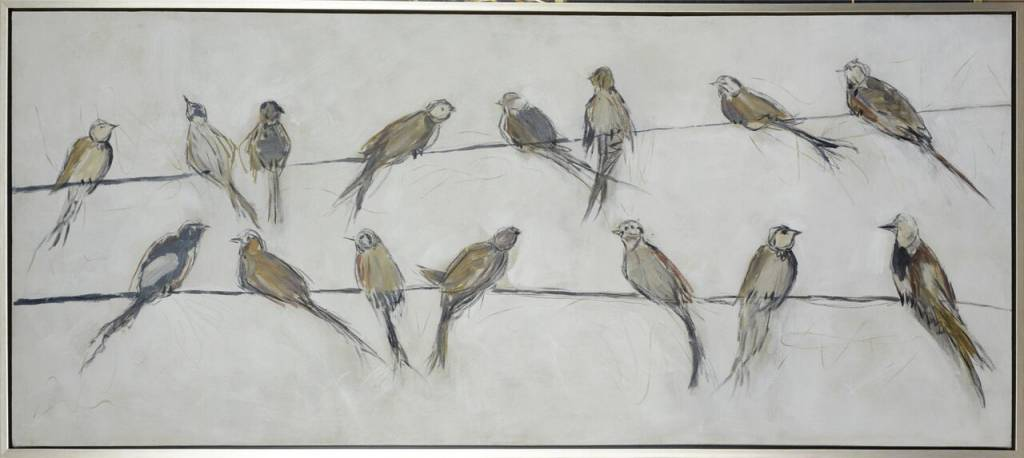 BIRDS ON WIRE FRAMED ART