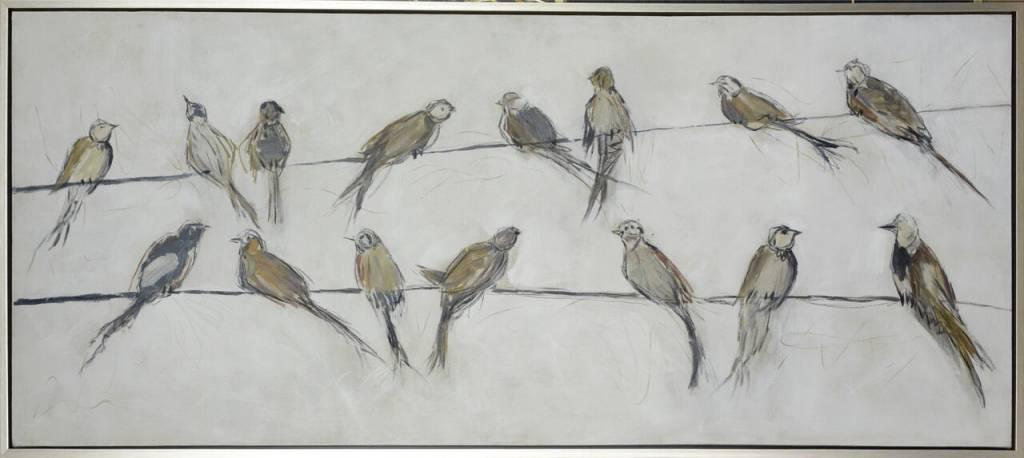 BIRDS ON WIRE FRAMED ART
