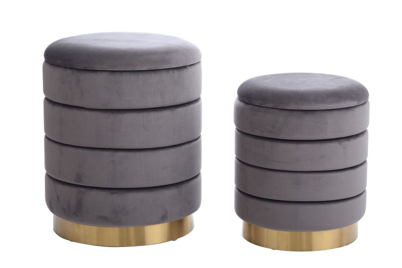 HOLLACE OTTOMAN GRAY S/2