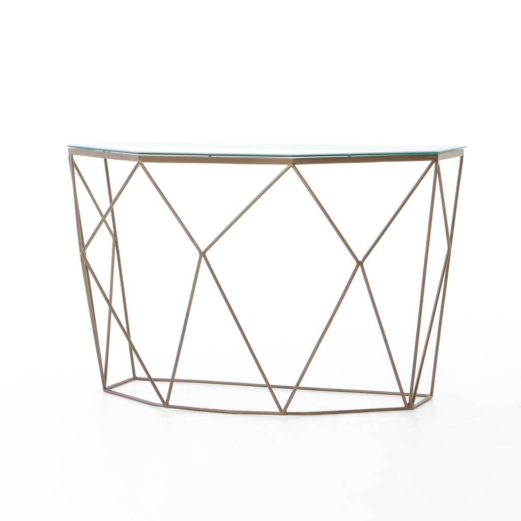 Geometric Console Table - Antique Brass