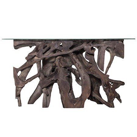 Teak Root Large Console Table - Grey with Glass