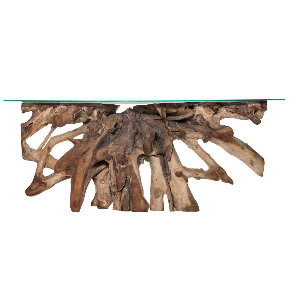 Teak Root Large Console Table - Natural with Glass