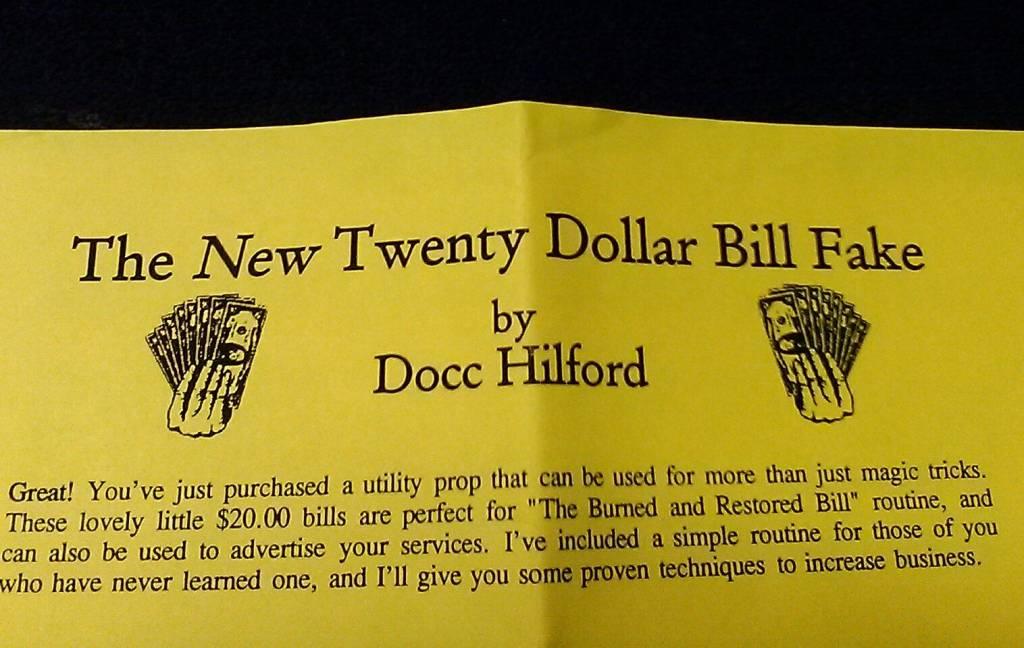 The New Twenty Dollar Bill Fake ('91) by Docc Hilford