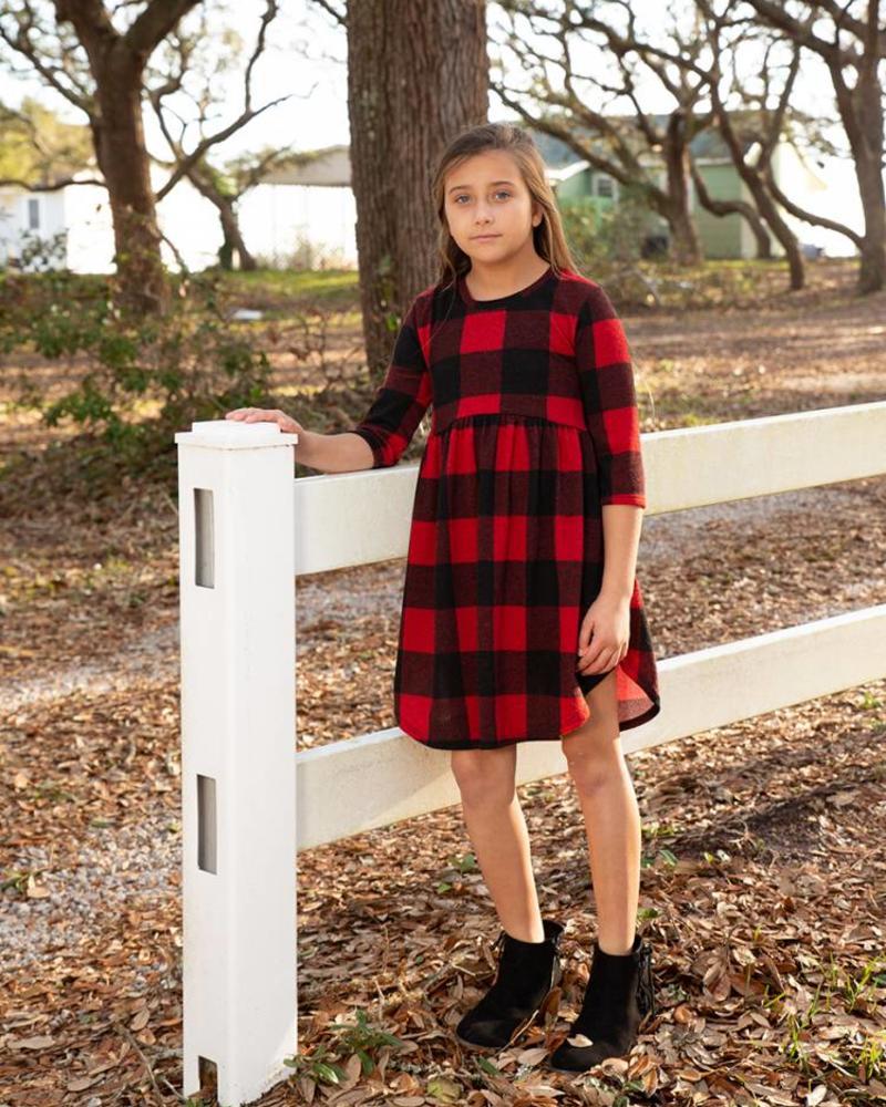 Girls Brushed Plaid Babydoll Dress