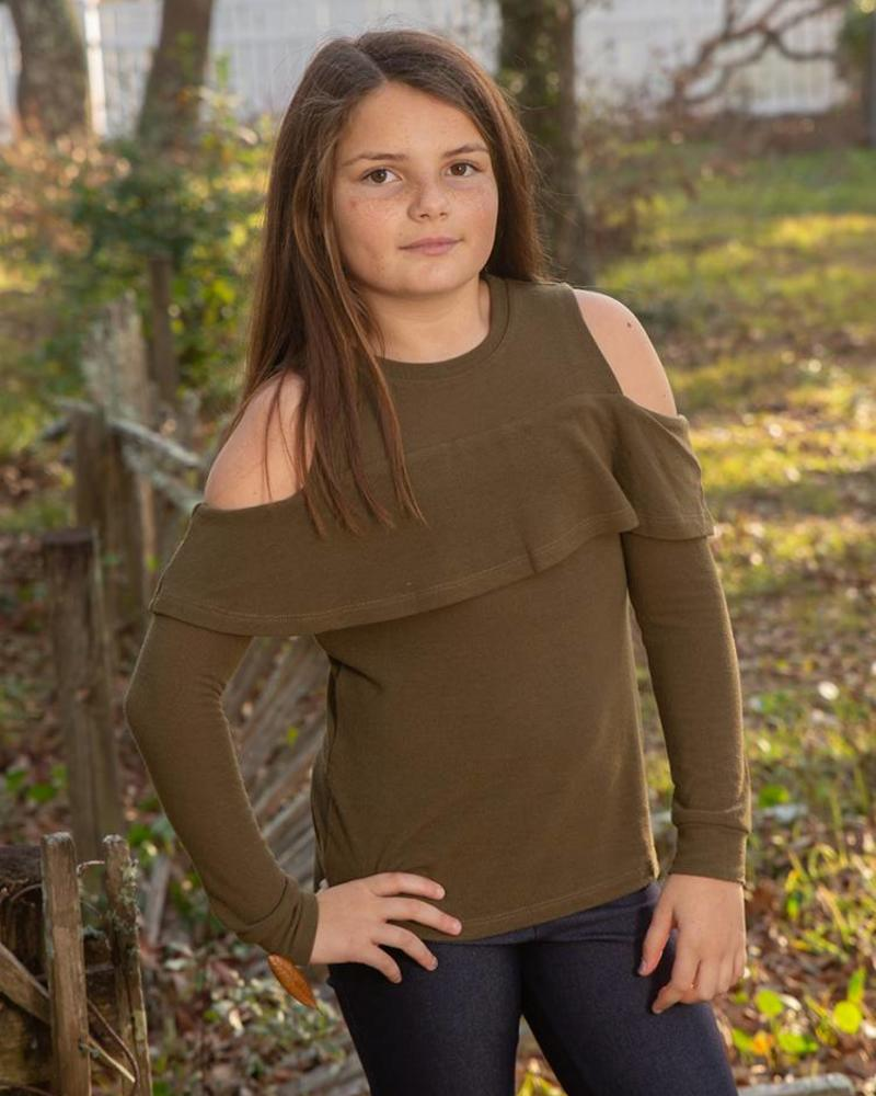 Girls Cold Shoulder Knit Sweater Top