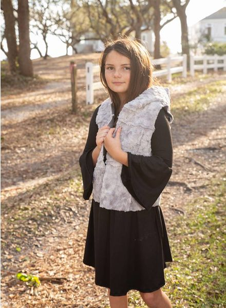 Girls Hooded Faux Fur Vest