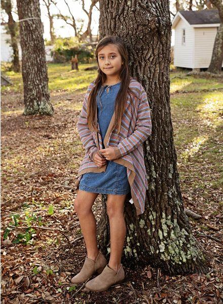 Girls Striped Bolero Knit Cardigan