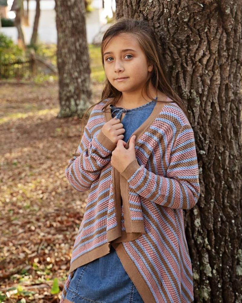 Girls Striped Bolero Knit Cardigan