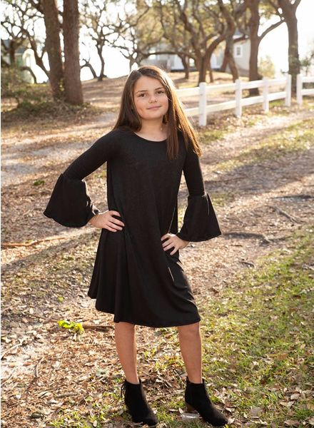 Kids Solid Bell Sleeve Tunic Dress