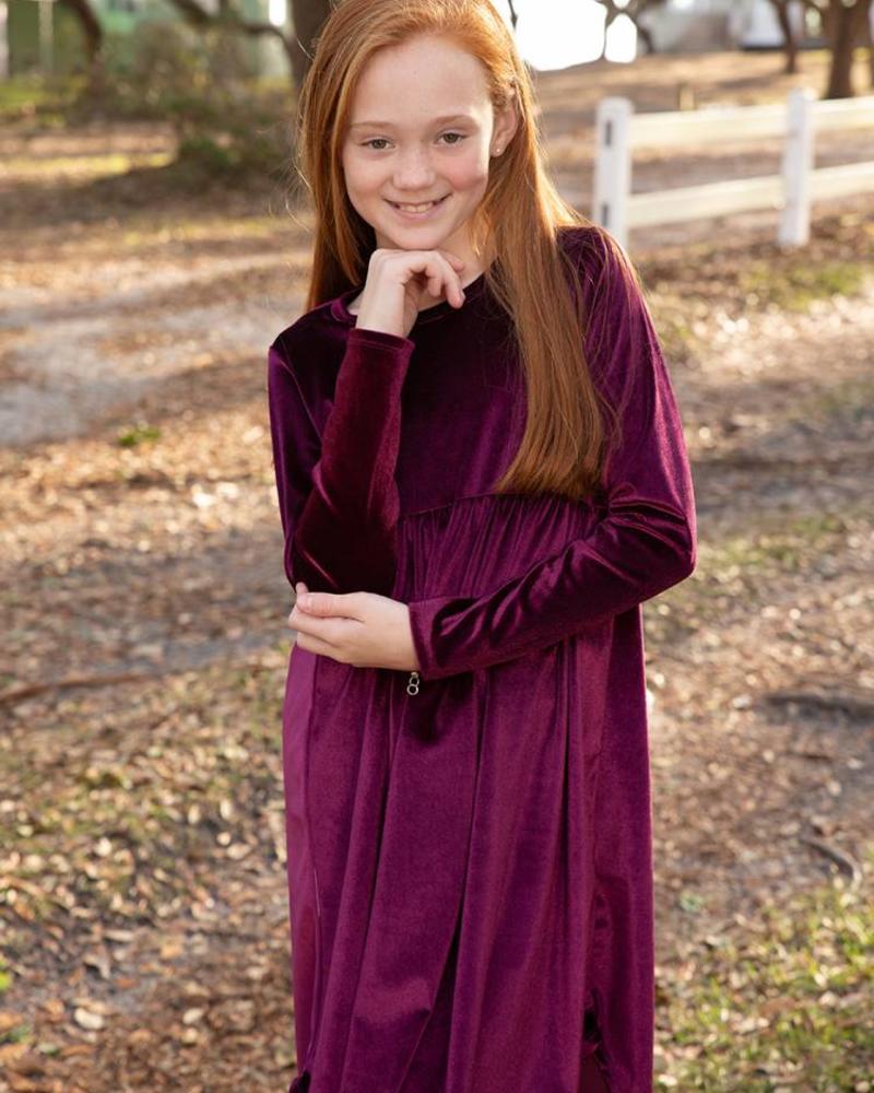Kids Velvet L/S Babydoll Dress
