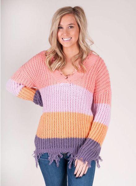 Carson Distressed VNeck Stripe Sweater
