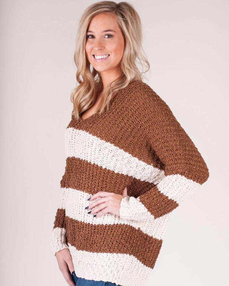Tonya Stripe VNeck Sweater