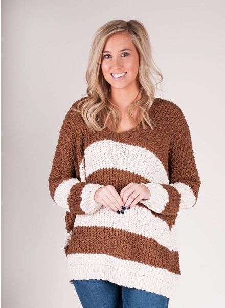 Tonya Stripe VNeck Sweater
