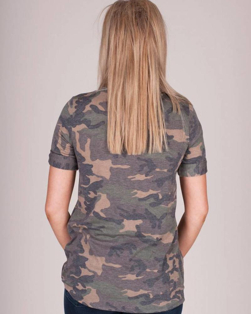 Tasha Washed Camo S/S Top