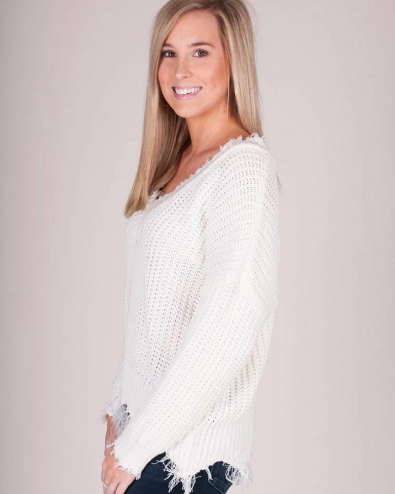 Kate VNeck Distressed Sweater
