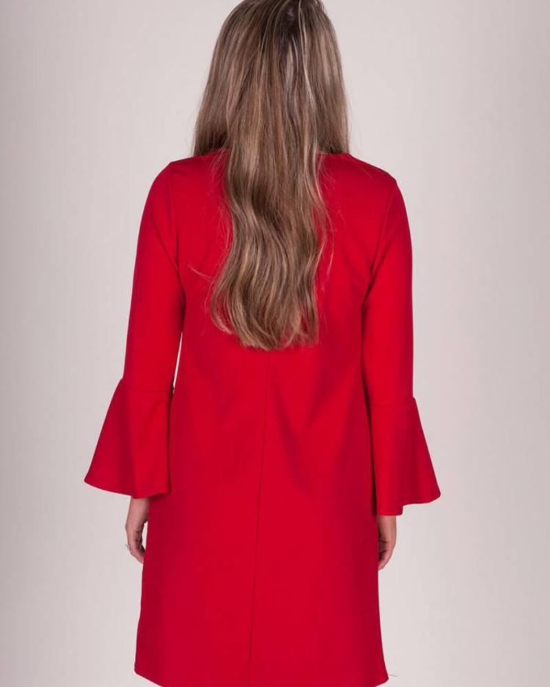 Samantha L/S Bell Sleeve Dress w/ Keyhole