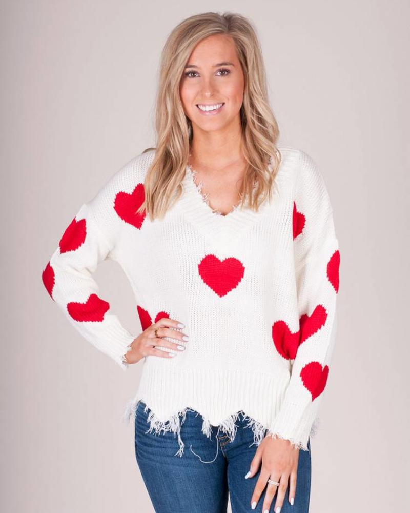 Valentine Red Heart Distressed VNeck Sweater