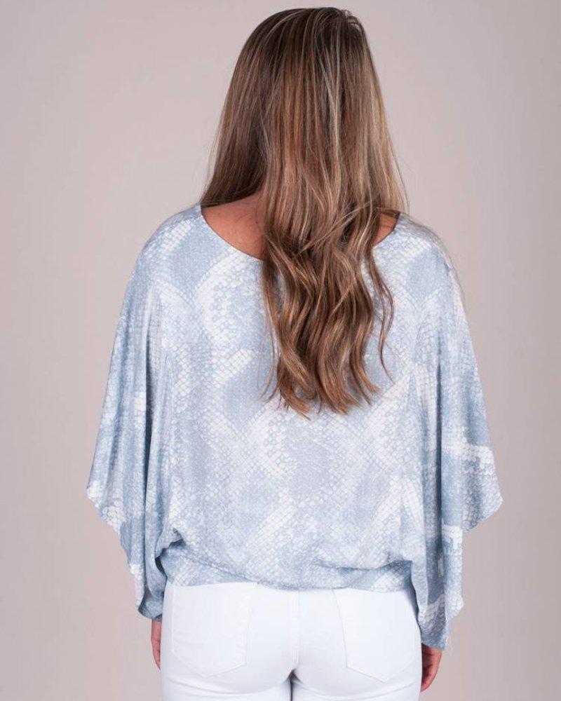 Iris Snake Kimono Button Blouse