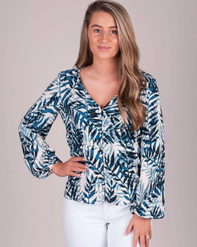 Lilly Button-Up Palm Blouse
