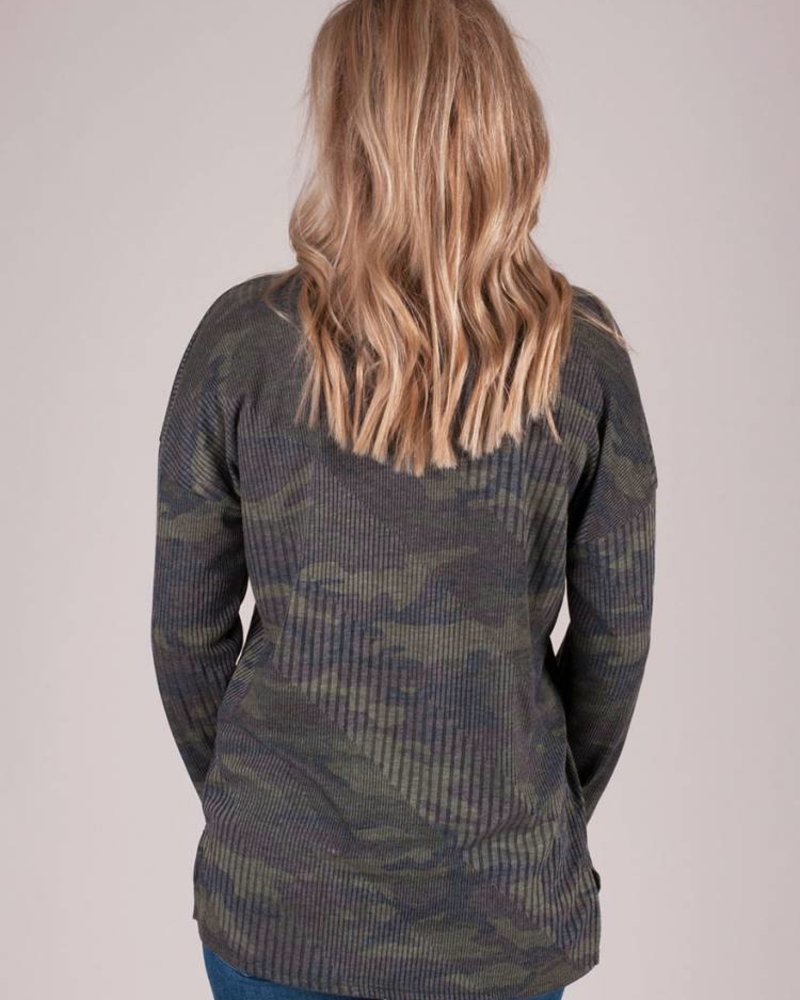 Allison Ribbed Camo L/S Top