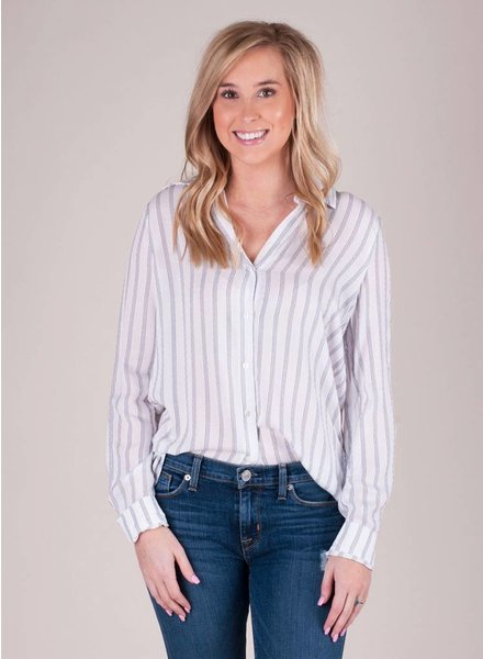 London Striped Button-Up Top