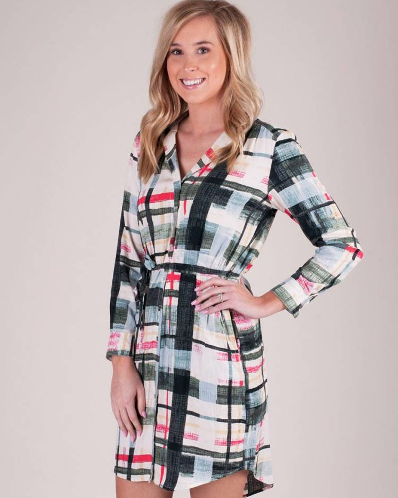 Molly Window Pane Shirt Dress
