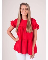 Avery S/S Tiered Ruffle Top